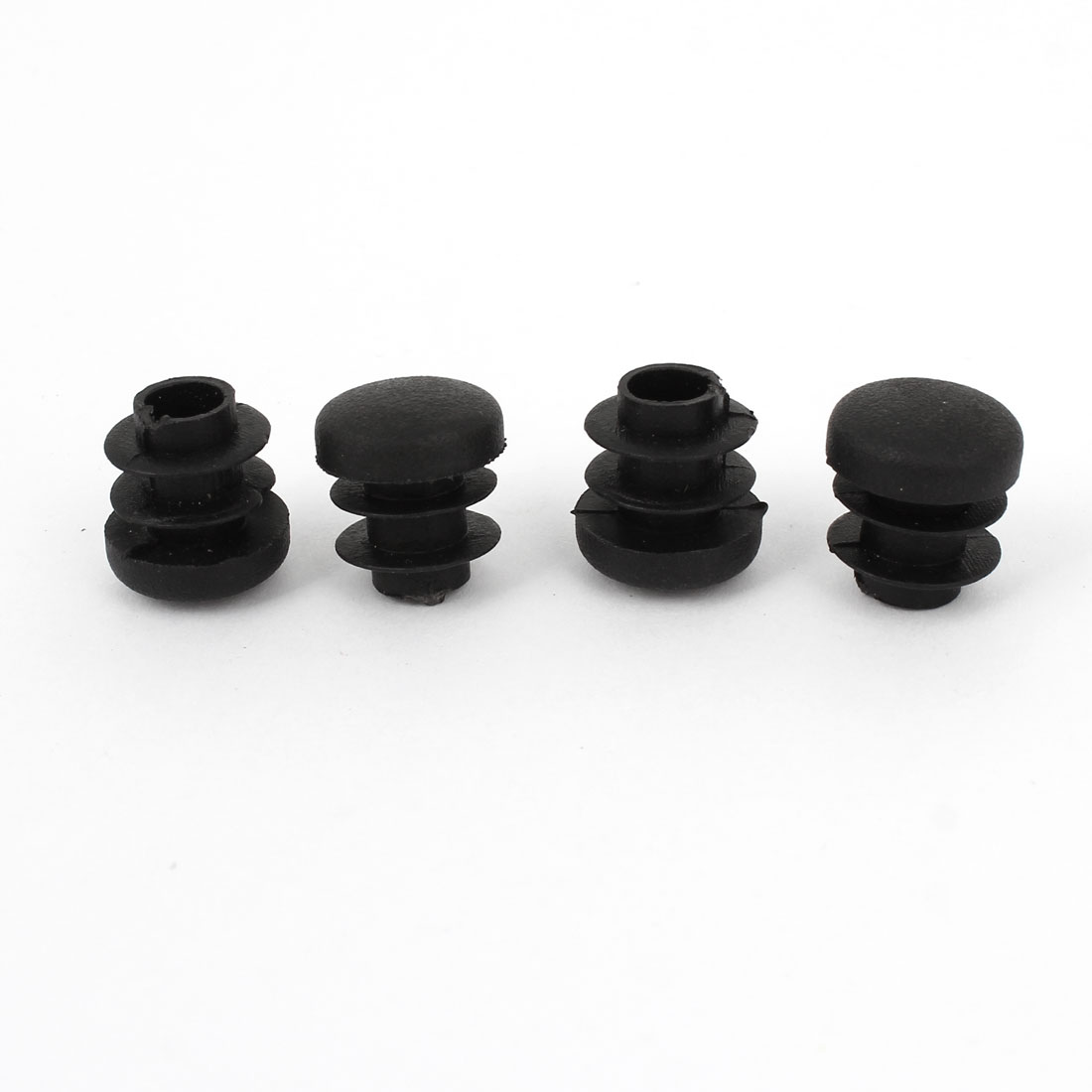 Black Plastic 14mm Diameter Blanking End Caps Round Tube Insert 4 Pcs