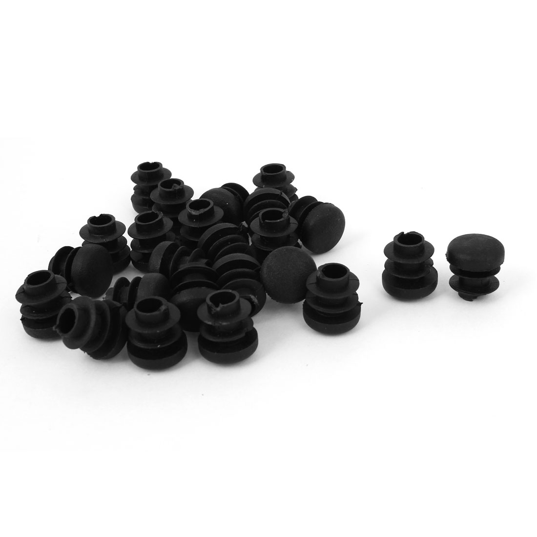 Black Plastic 14mm Diameter Blanking End Caps Round Tubing Insert 24 Pcs