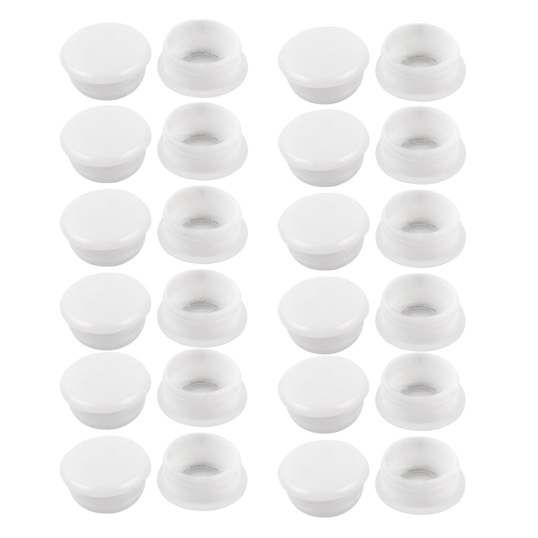24 Pcs White Plastic 15mm Dia Round Tubing Tube Insert Caps Covers