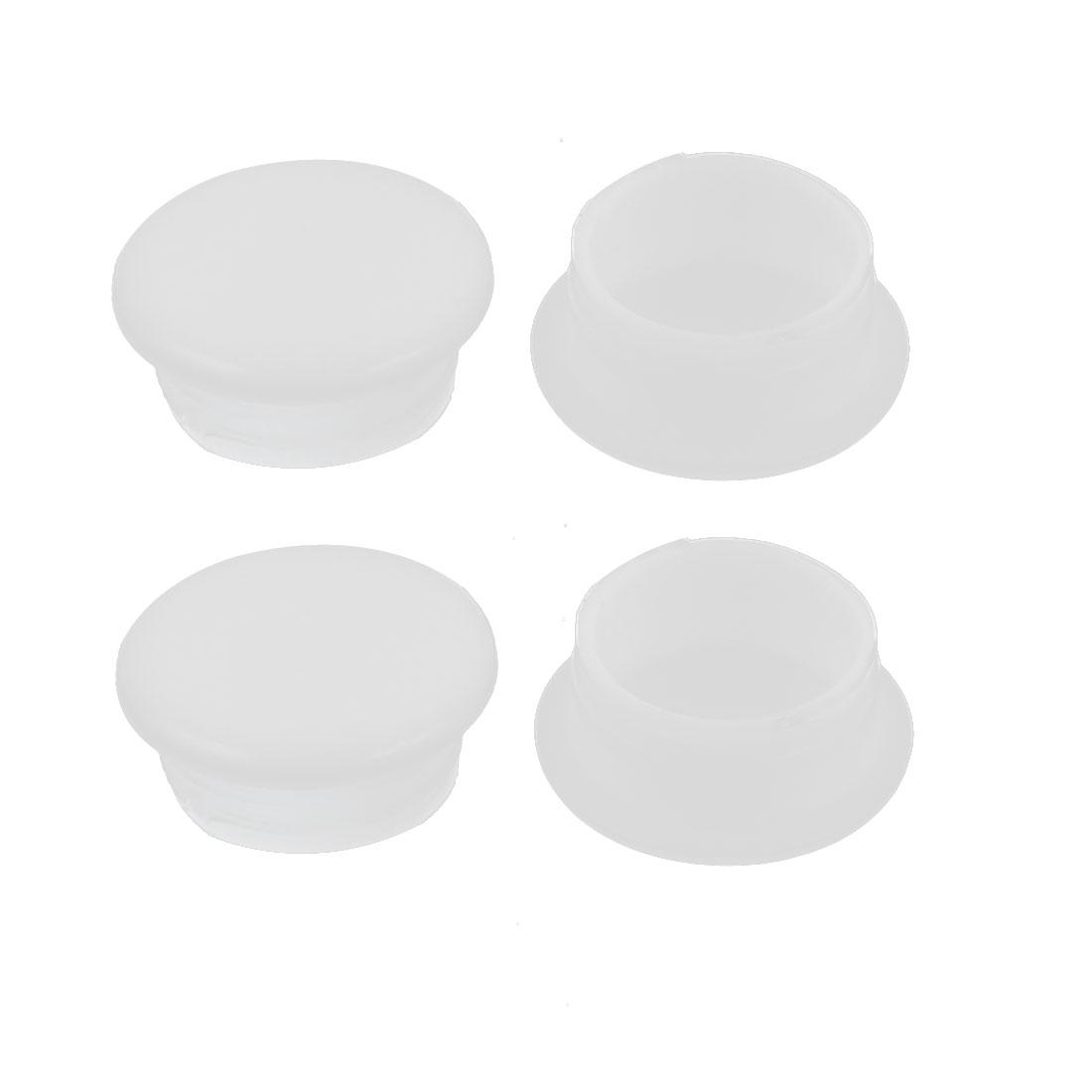 4Pcs White Plastic 12mm Dia Round Tubing Tube Insert Caps Covers