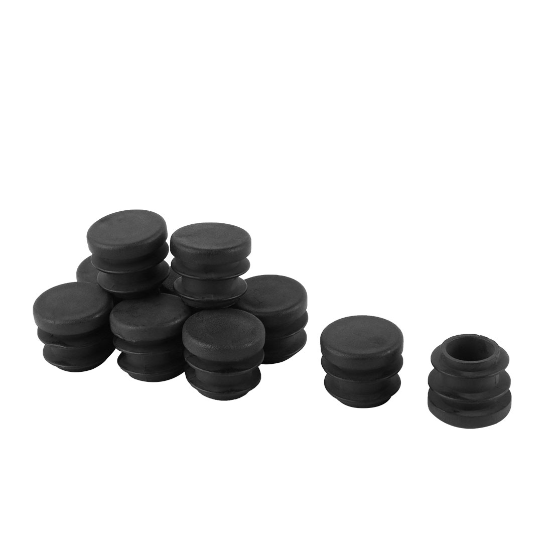 10 Pcs Black 16mm Diameter Round Plastic Blanking End Cap Tubing Tube Insert