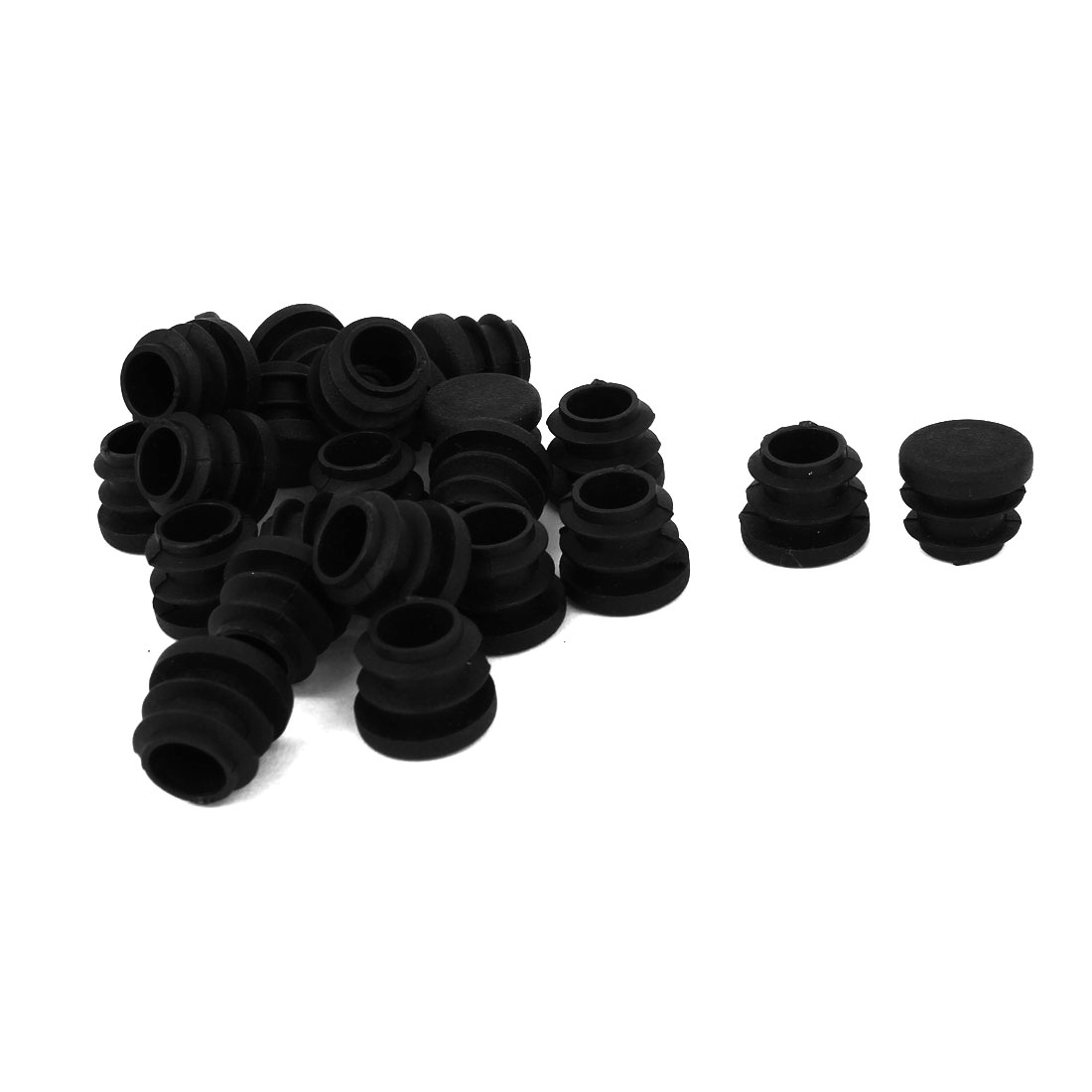 Black 16mm Dia Round Plastic Blanking End Cap Tubing Pipe Insert 24 Pcs