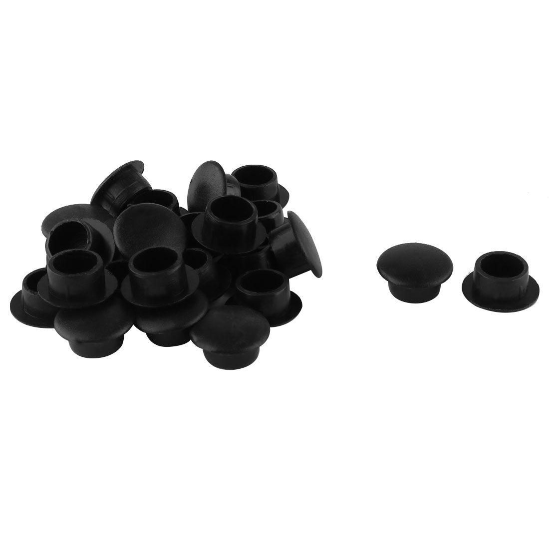 24 Pcs Plastic 10mm Diameter Flush Mounted Hole Plug Caps Cover Black