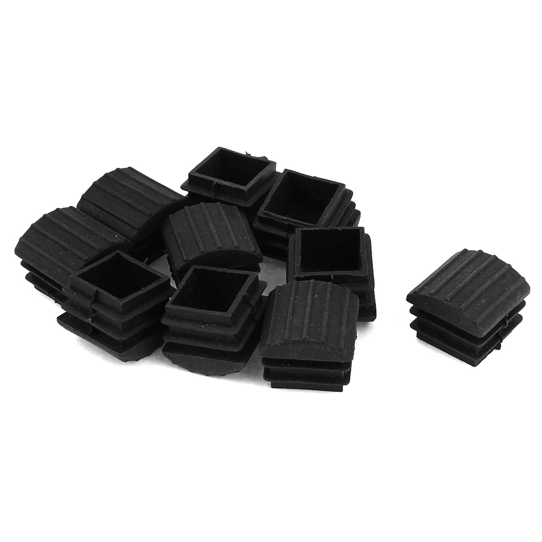 20mm x 20mm Plastic Threaded Square Anti-Slip Tubing Tube Insert Caps 10 Pcs