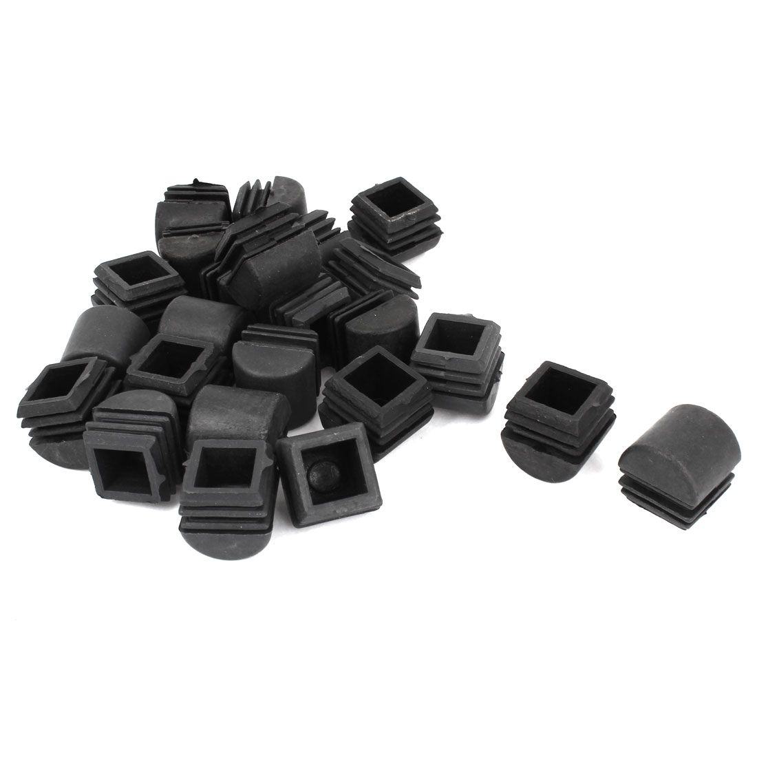 24 Pcs Square Multi-Gauge Dome Insert Black 25mmx25mm for Box Section Tube