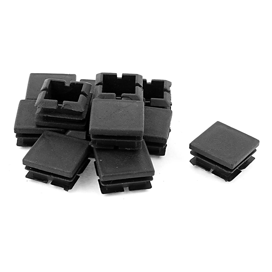12 Pcs Black Plastic 25x25mm Pipe Blacking End Caps Tubing Insert Square
