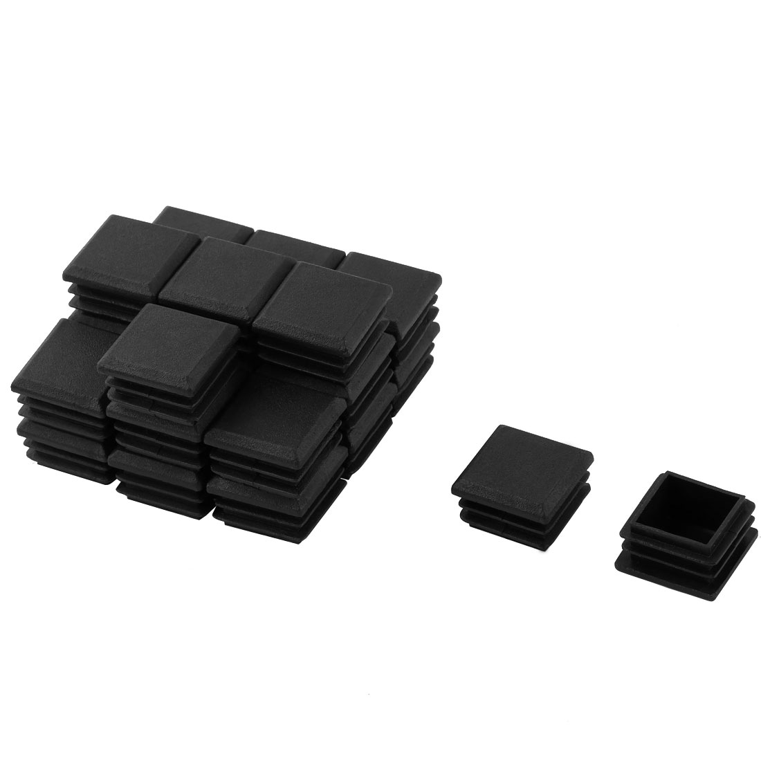 24 Pcs Black Plastic 25x25mm Square Pipe Blacking End Caps Tube Insert