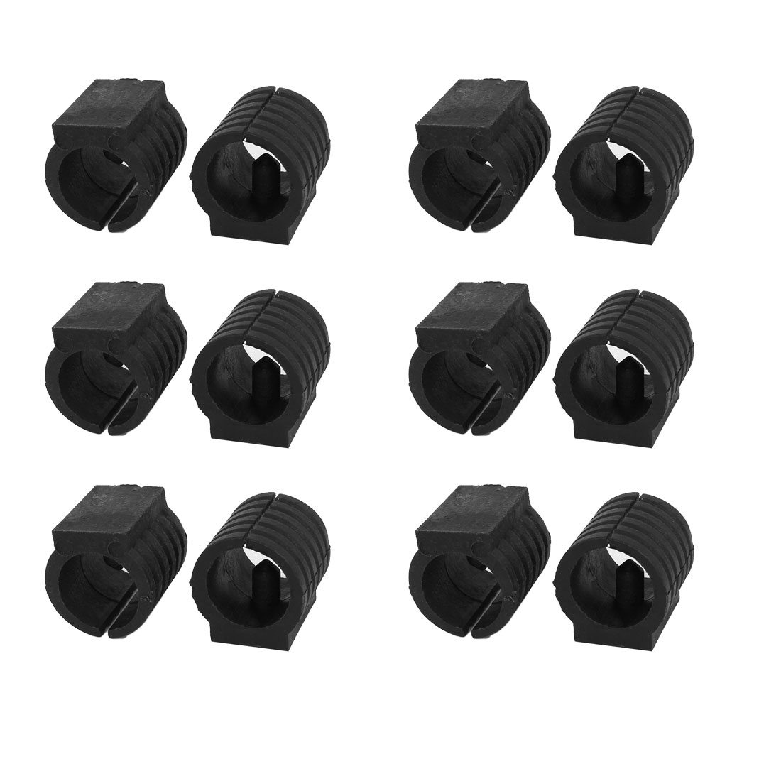 Breuer Chair Tubing Pipe Foot Floor Glides Single Prong Round U-Shape Plastic Caps 16mm Dia 12Pcs