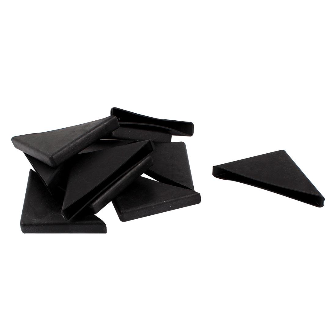 10 Pcs 8mm x 75mm Black Plastic Recessed Furniture Corner Protectors