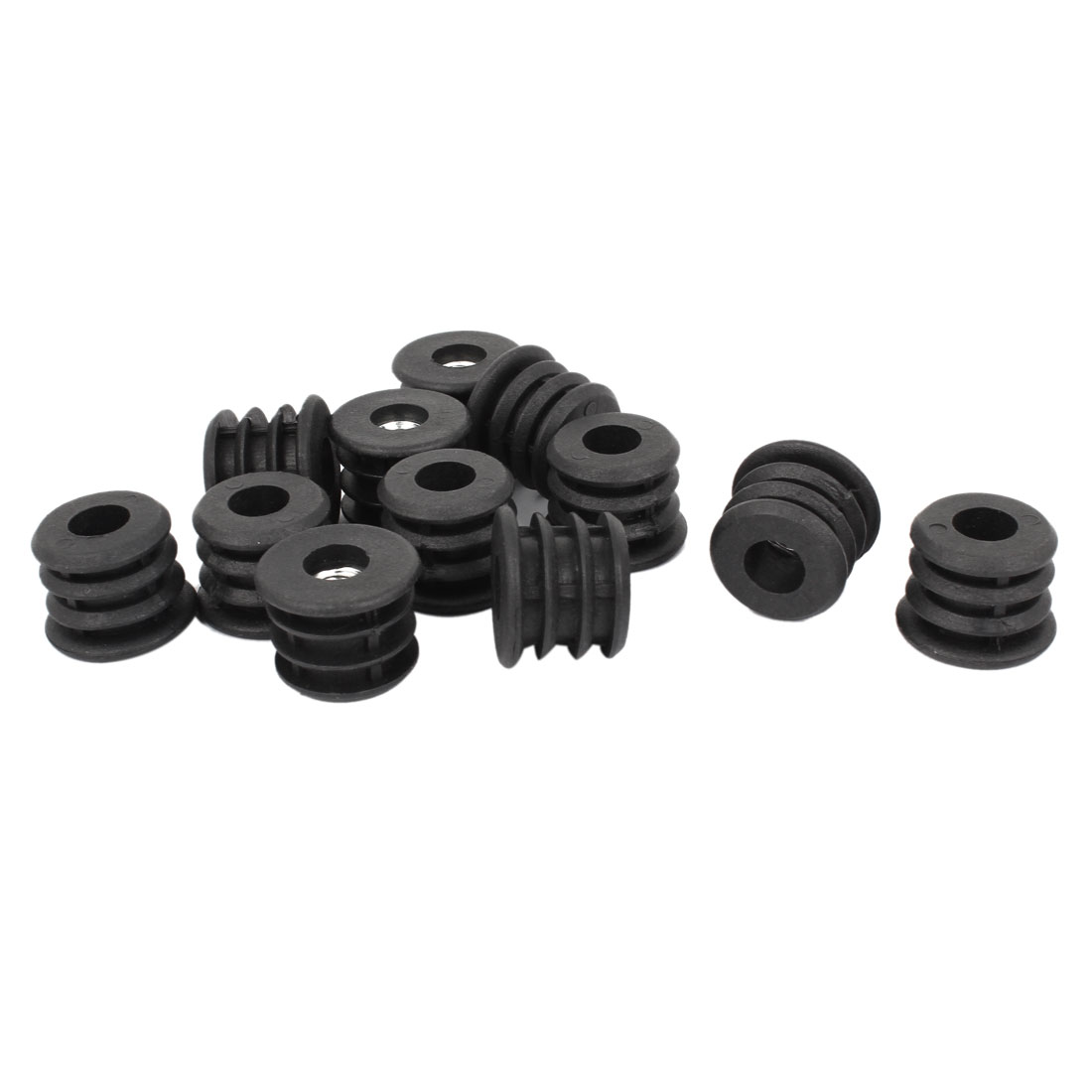 12 Pcs 25mm Dia Plastic Black Blanking End Caps Round Thread Tube Pipe Inserts