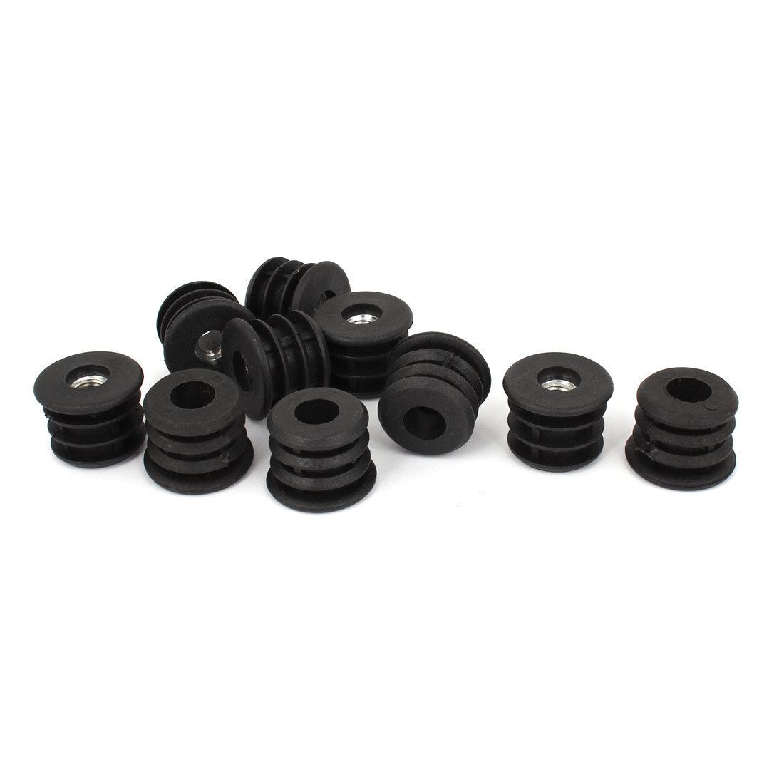 10 Pcs 25mm Dia Plastic Black Blanking End Caps Round Thread Tube Pipe Inserts