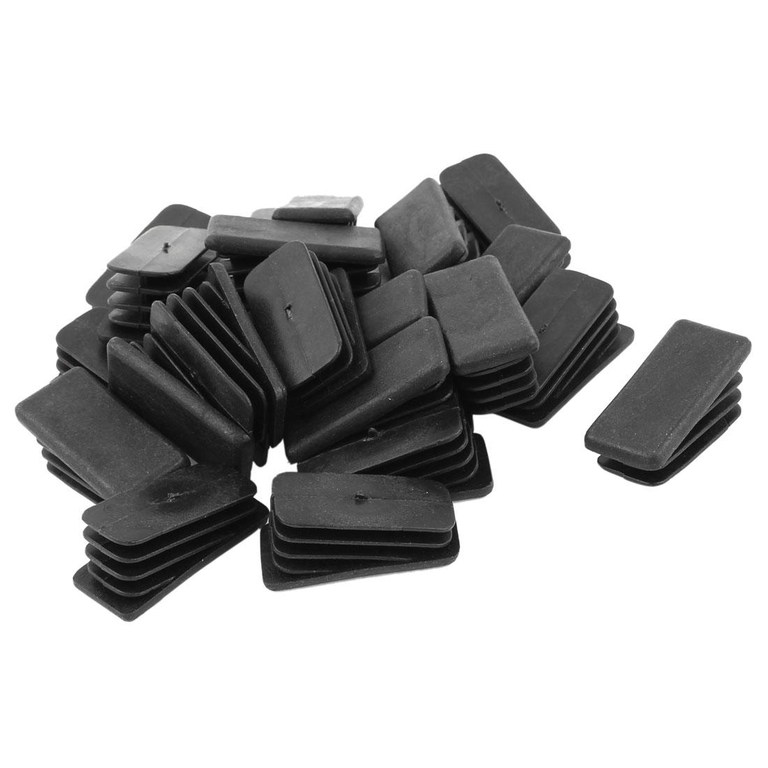 24 Pcs Black Plastic 20mm x 40mm Slope Tubing Tube Insert Pads Caps Covers