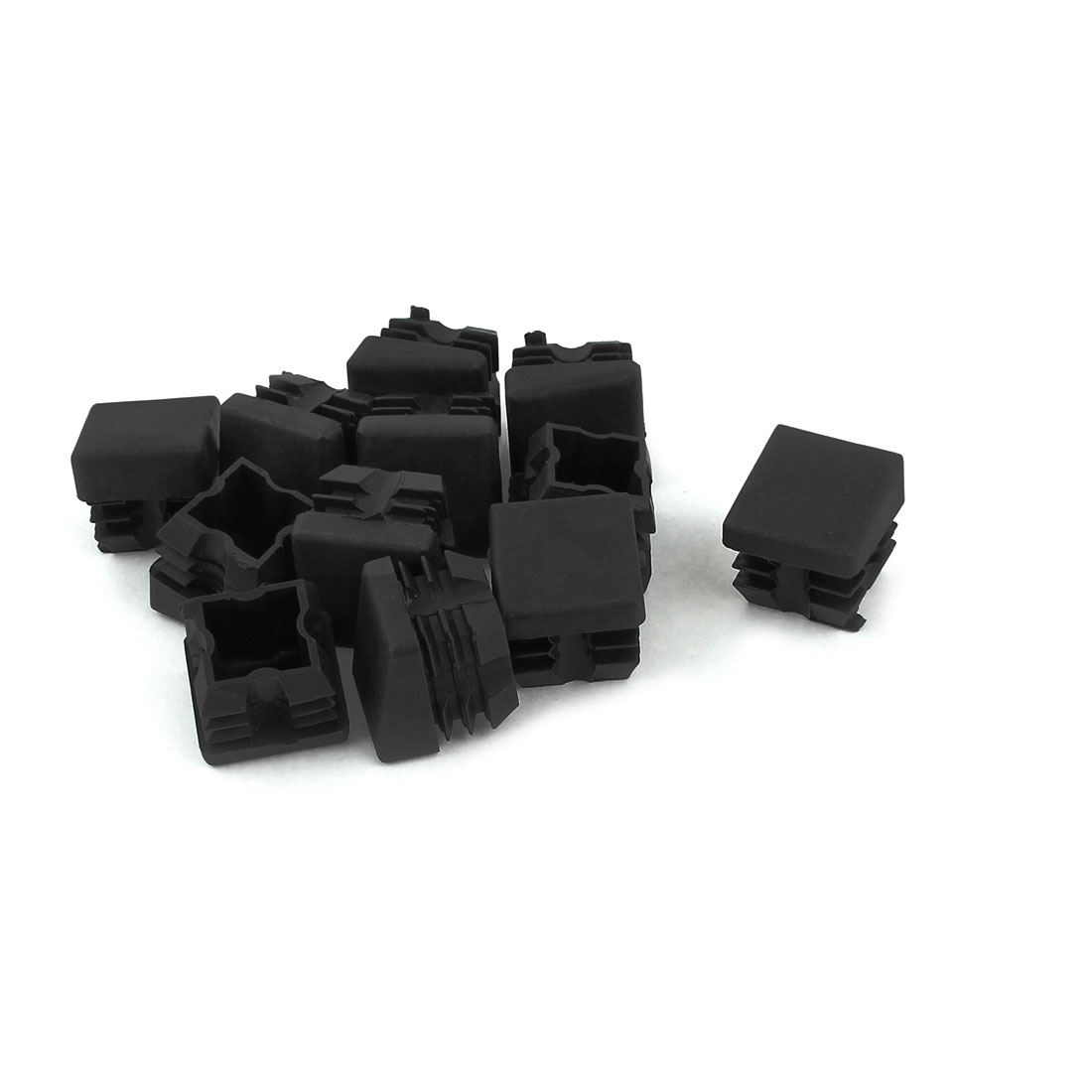 25mm x 25mm Plastic Square Caps Tube Pipe Inserts End Blanking Black 12 Pcs