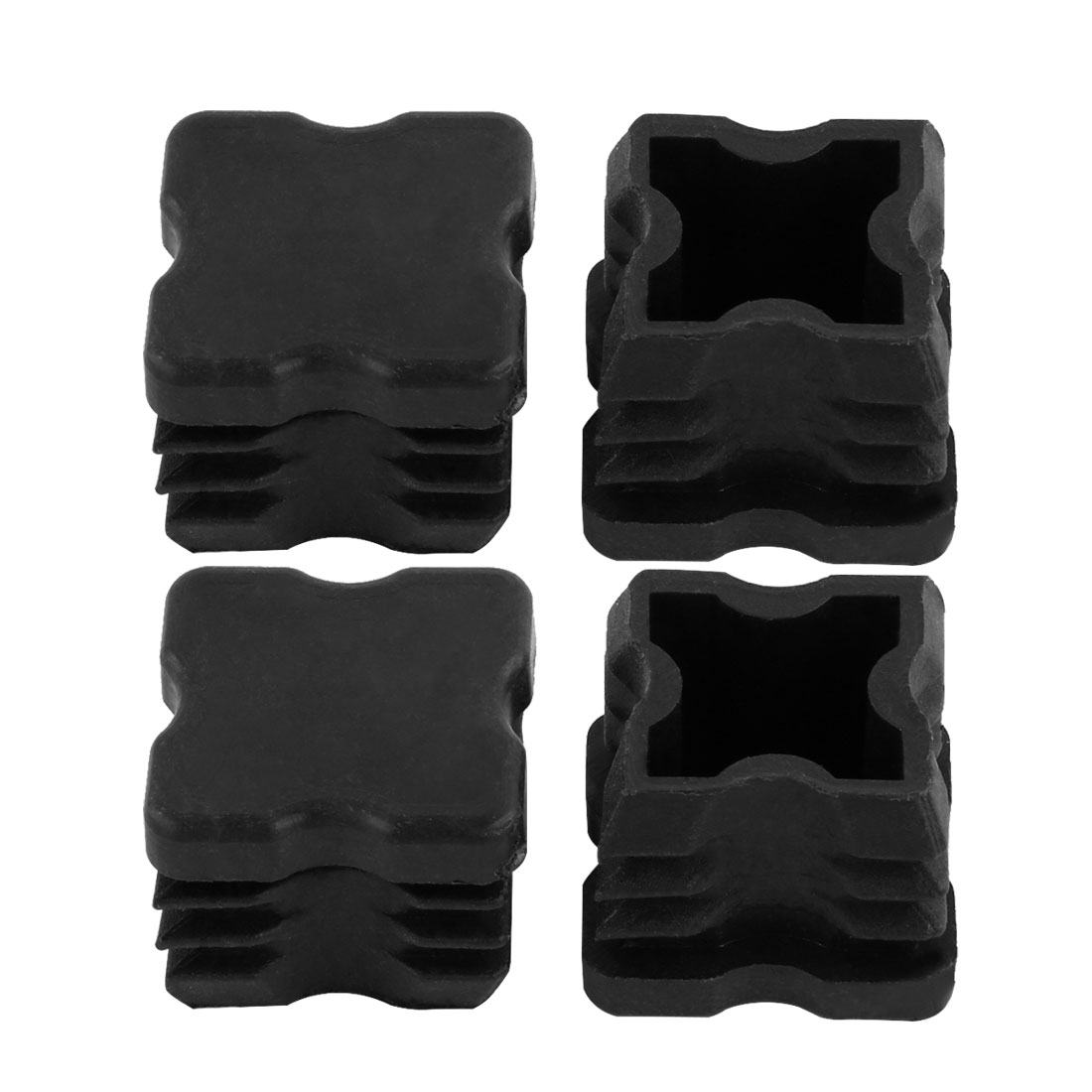 4 Pieces Black Plastic Square Angled Blanking End Caps Tubing Tube Inserts 25mm x 25mm