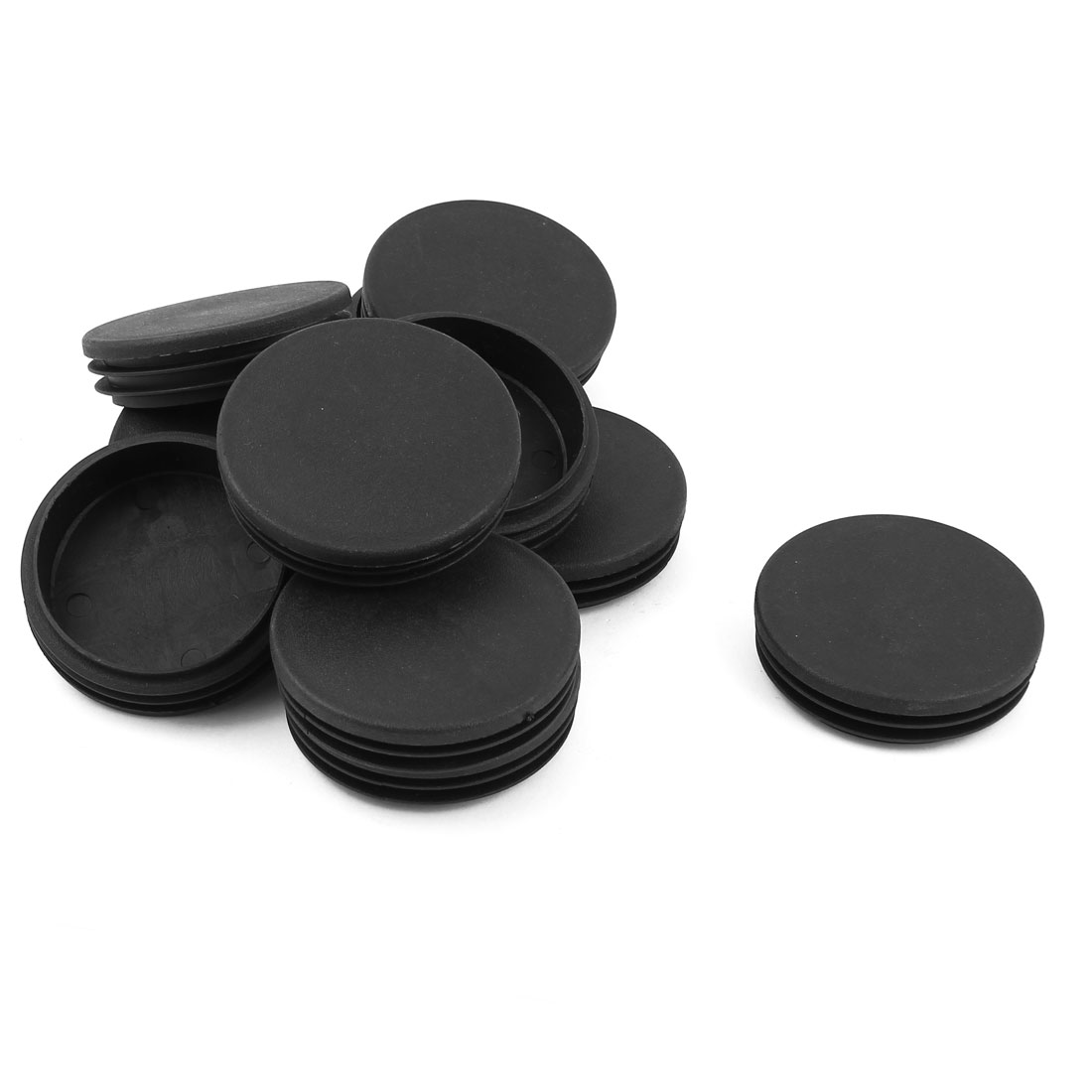 12 Pcs Black Plastic 63mm Blanking End Caps Round Tube Insert Bung