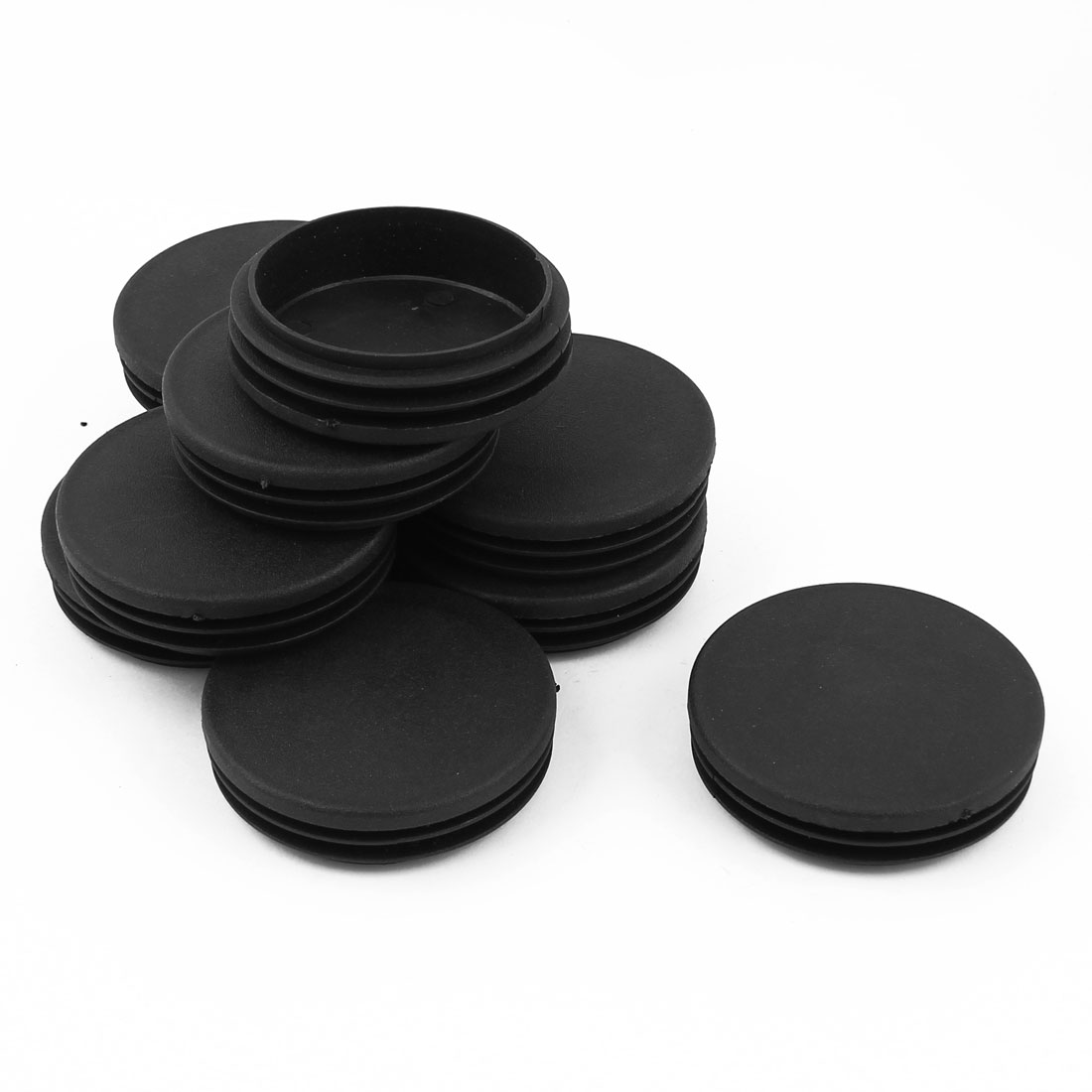 10 Pcs Black Plastic 63mm Blanking End Caps Round Tube Insert Bung