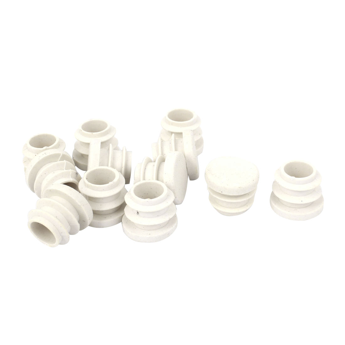 15mm Dia White Plastic Blanking End Cap Caps Tube Pipe Inserts Bung 12 Pcs