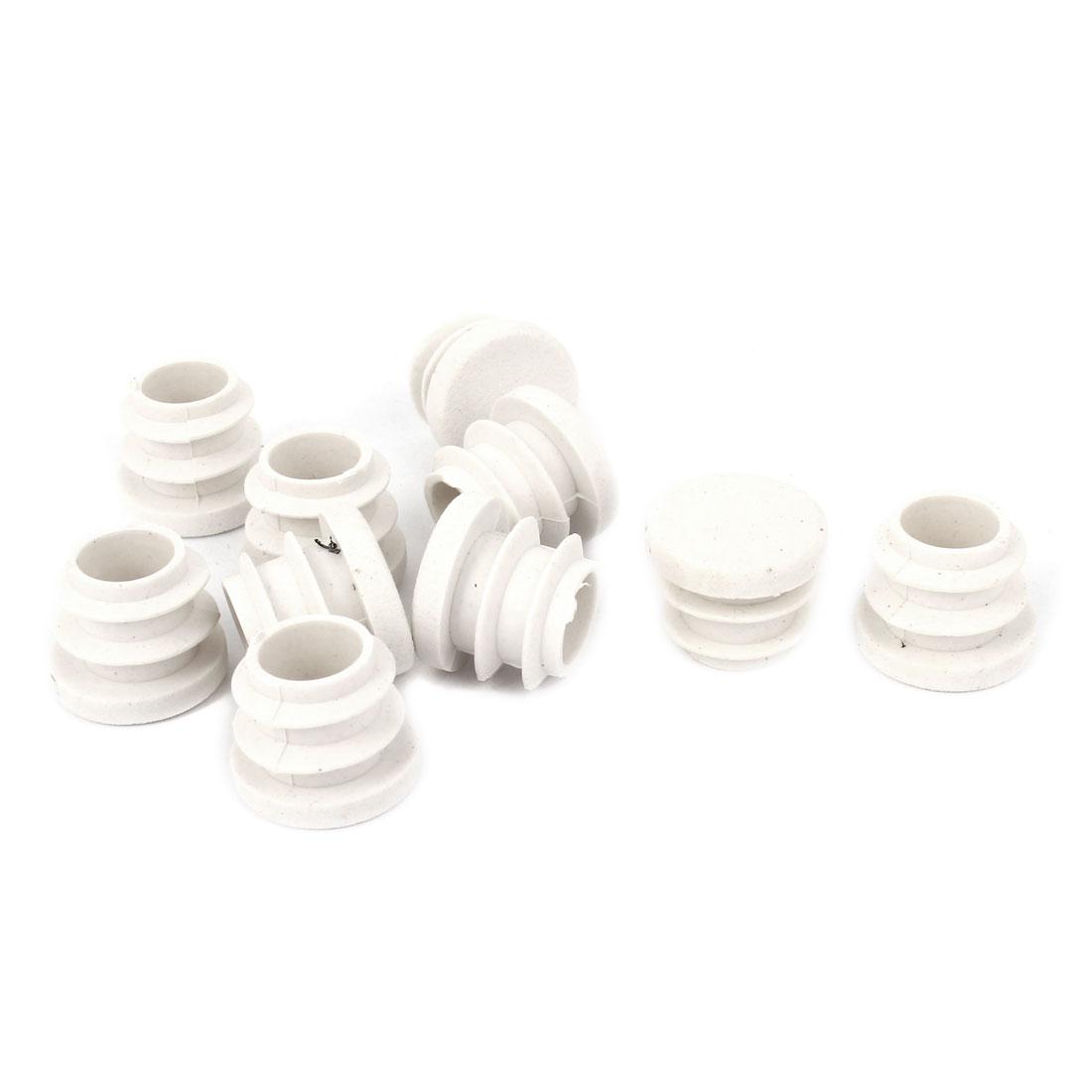 15mm Dia White Plastic Blanking End Cap Caps Tube Pipe Inserts Bung 10 Pcs