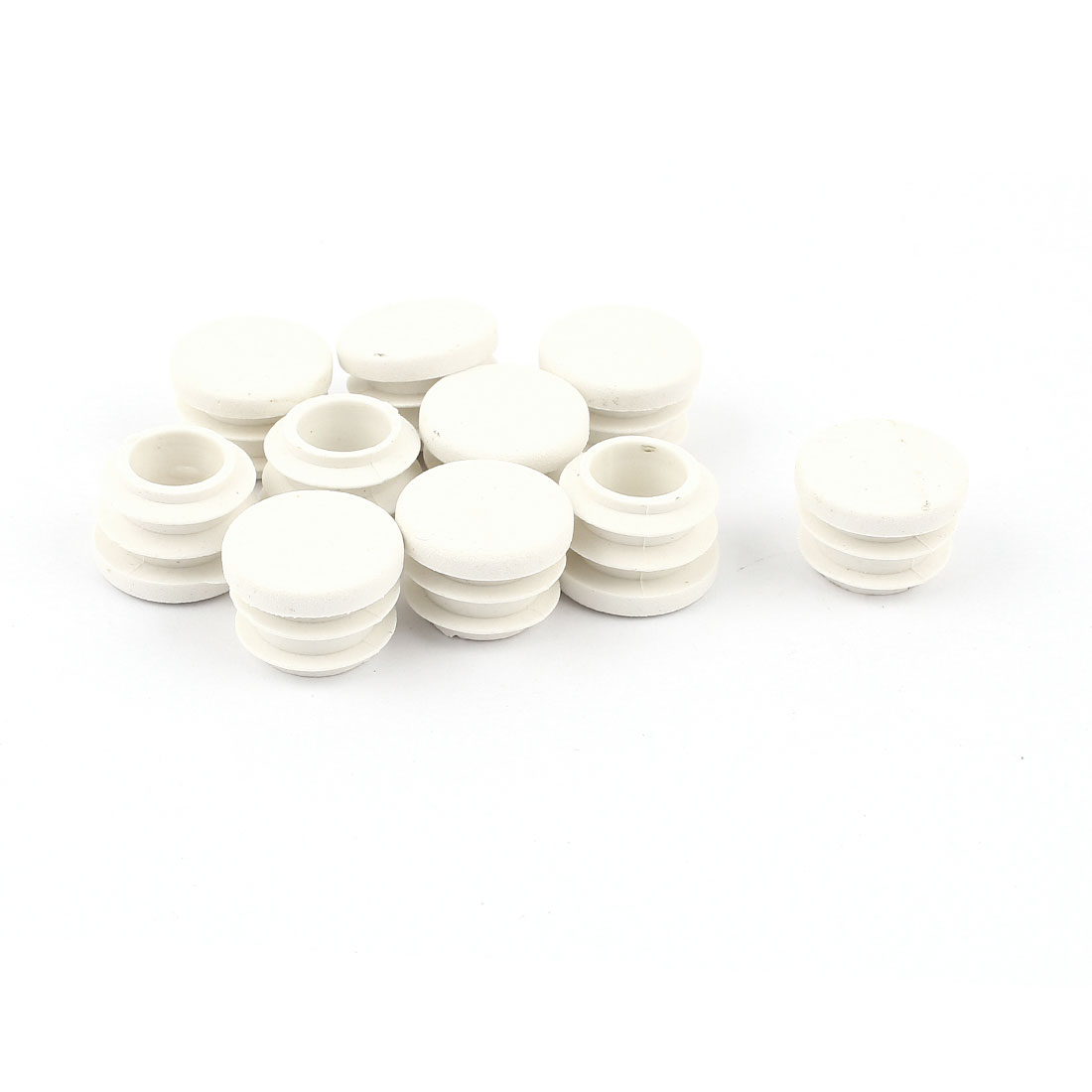 White Plastic Blanking End Caps 16mm Round Tube Insert Bung 10 Pcs