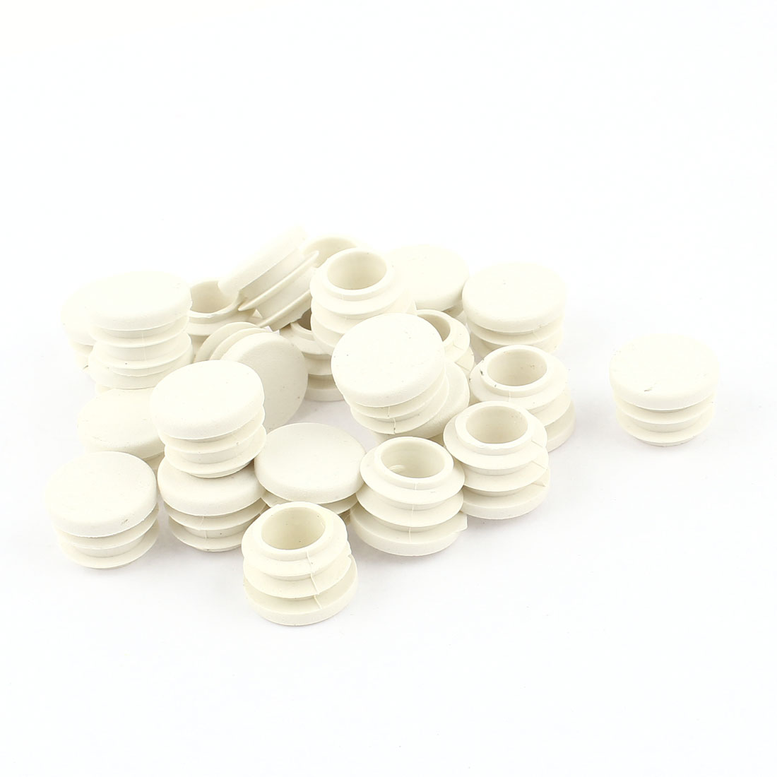 White Plastic Blanking End Caps 16mm Round Tube Insert Plug Bung 24 Pcs