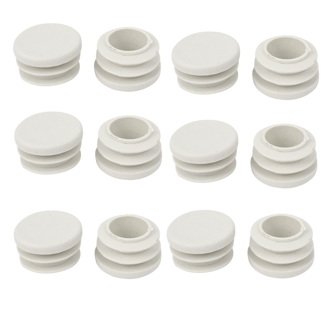 19mm Dia White Plastic Blanking End Cap Caps Tube Pipe Inserts Bung 12 Pcs