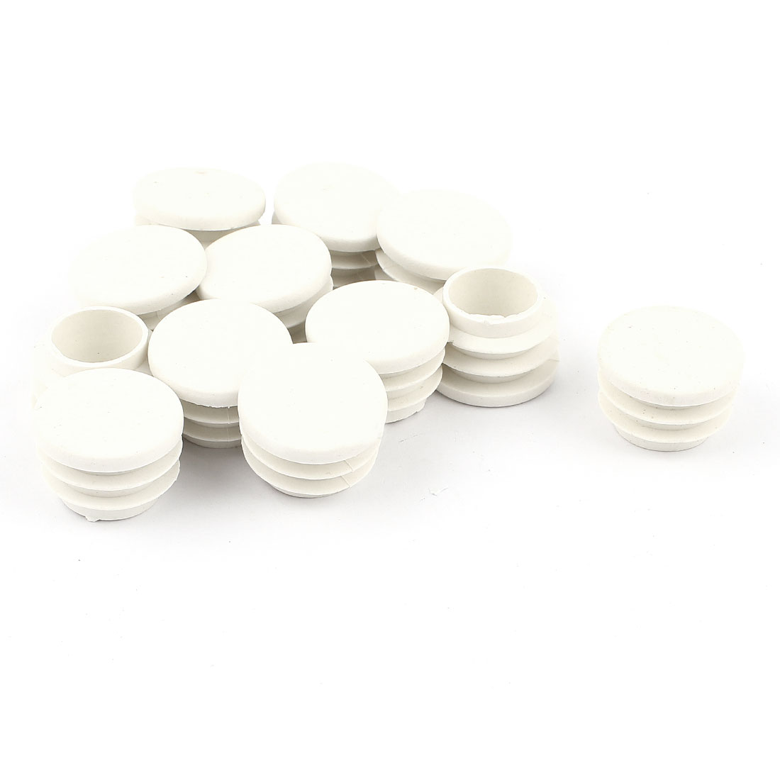 12 Pcs White Plastic 22mm Dia Round Tubing Tube Insert Caps Covers