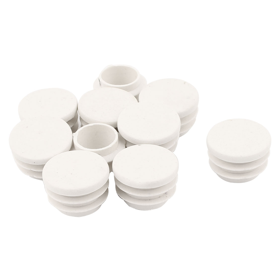 10 Pcs White Plastic 22mm Dia Round Tubing Tube Insert Caps Covers
