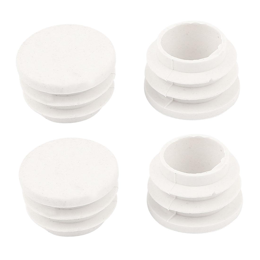 4 Pcs White Plastic 22mm Dia Round Tubing Tube Insert Caps Covers