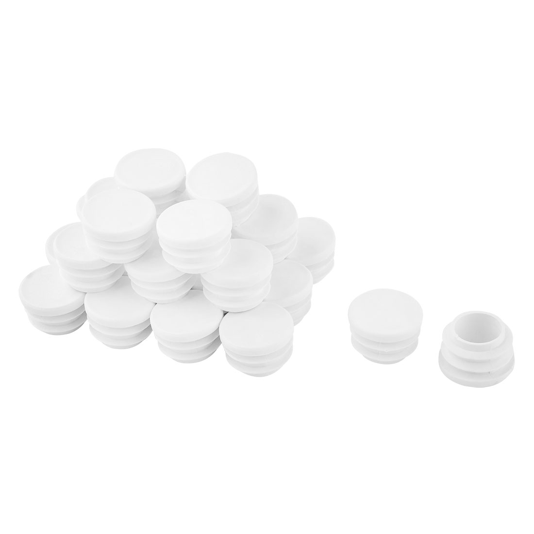 "24 Pcs White Plastic 7/8"" Diameter Round Tubing Tube Insert Caps Covers"