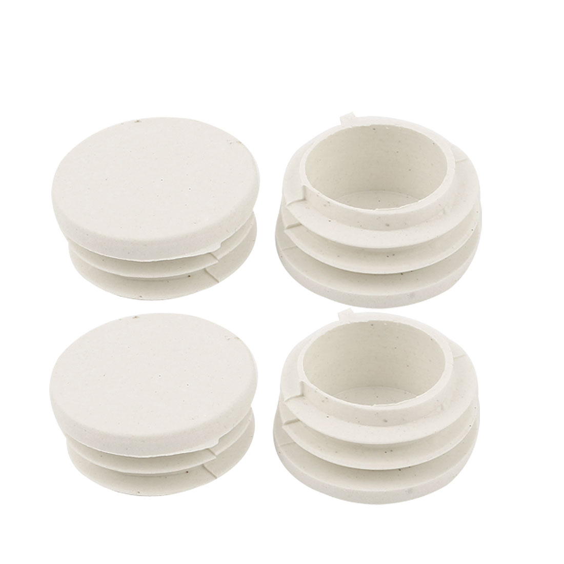 White Plastic Blanking End Caps 30mm Dia Round Tube Insert Plug Bung 4 Pcs