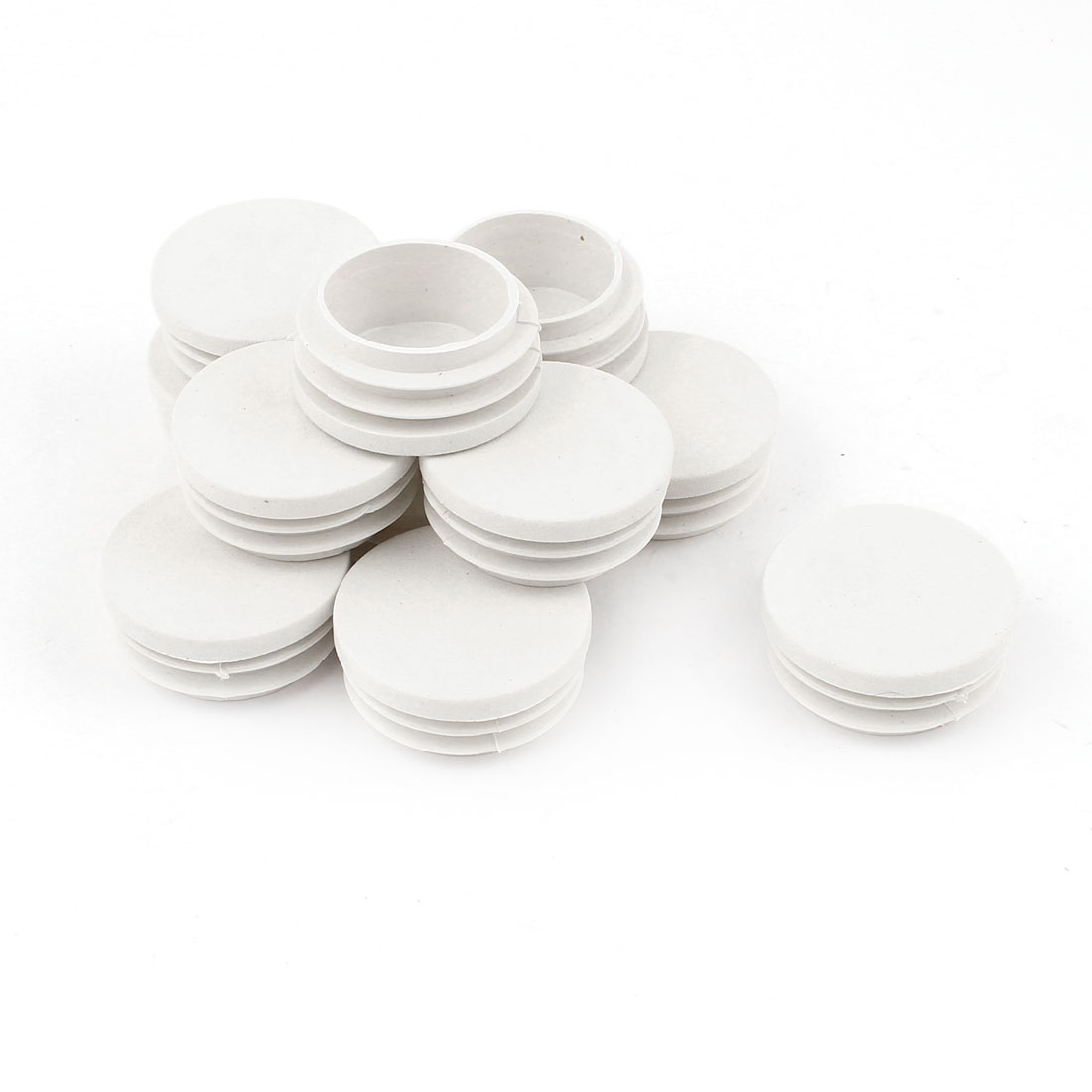Plastic Round Tubing Tube Insert Caps Covers White 37mm Thread Diameter 12 Pcs