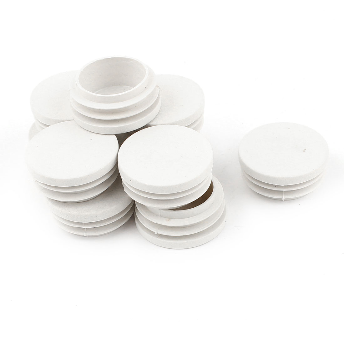 10 Pcs White Plastic 32mm Dia Round Tubing Tube Insert Caps Covers
