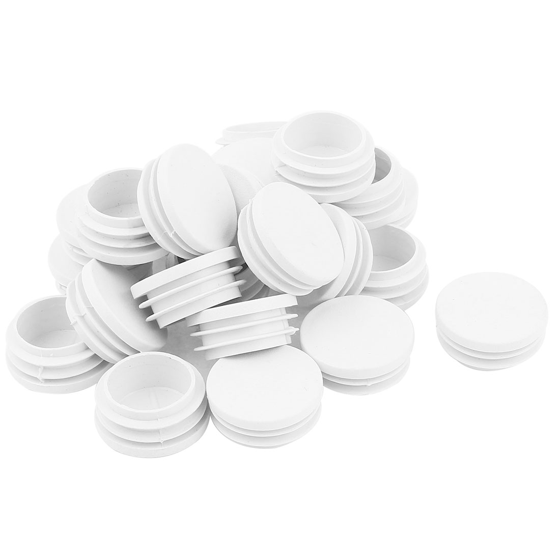 24 Pcs White Plastic 32mm Dia Round Tubing Tube Insert Cap Cover