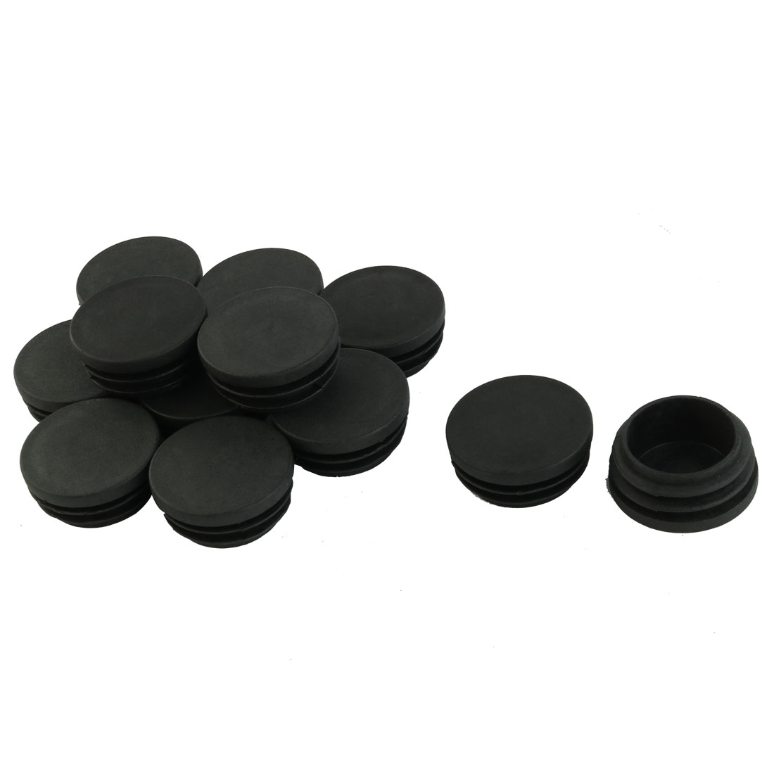 12 Pcs Black Plastic 40mm Dia Round Tubing Tube Insert Caps Covers