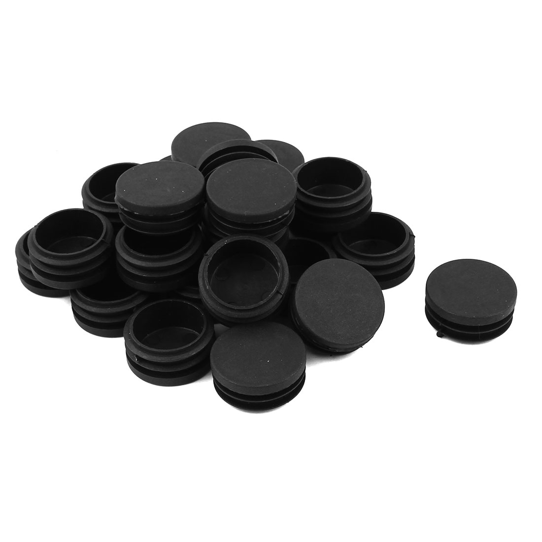 24 Pcs Black Plastic 40mm Dia Round Tubing Tube Insert Caps Covers