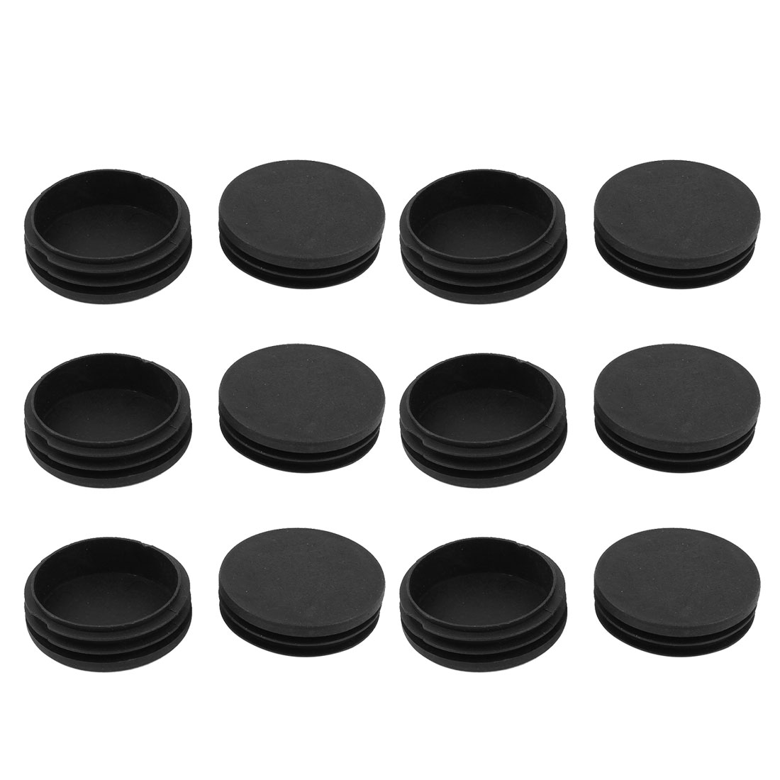 12 Pcs Black Plastic 58mm Dia Round Tubing Tube Insert Caps Covers