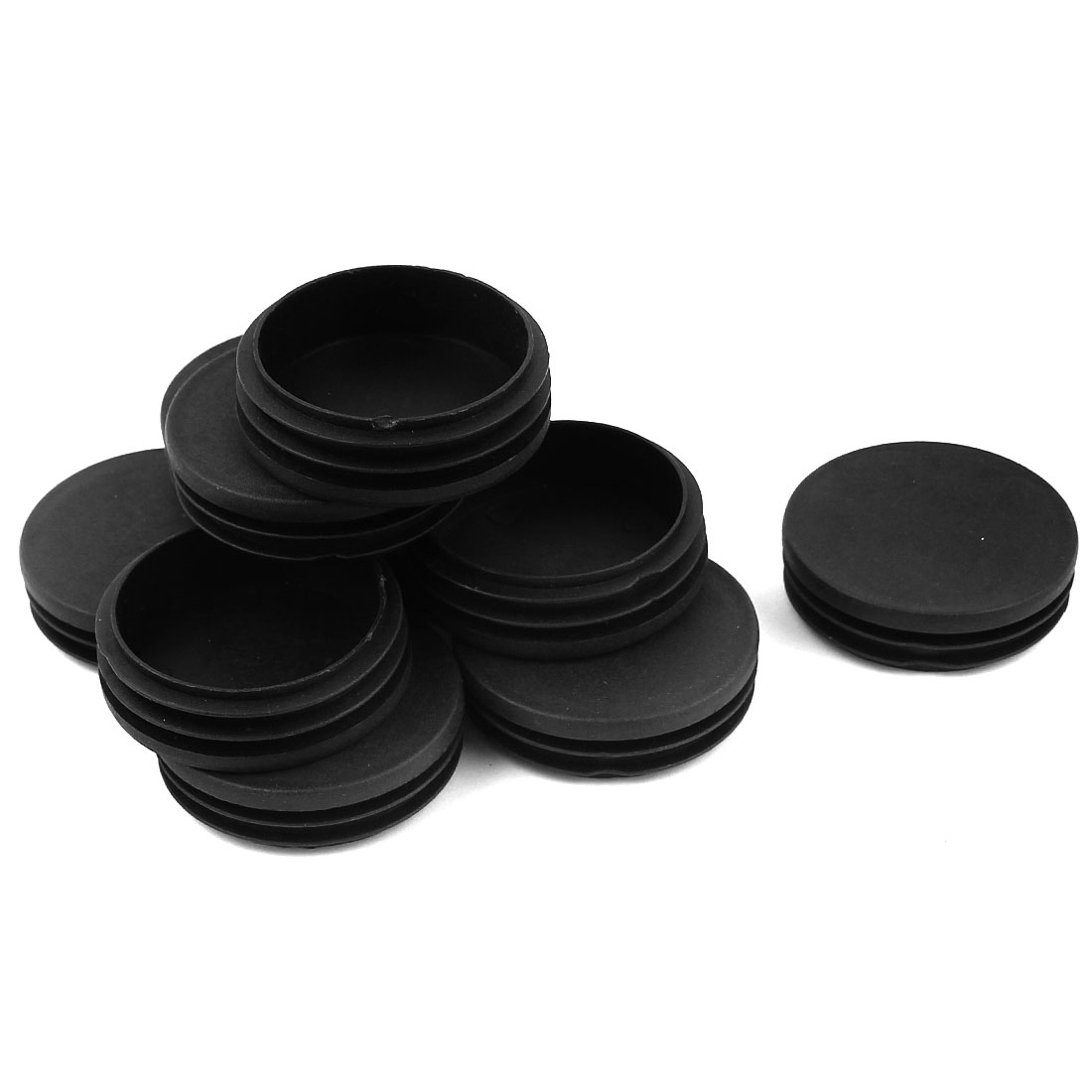 10 Pcs Black Plastic 58mm Dia Round Tubing Tube Insert Caps Covers