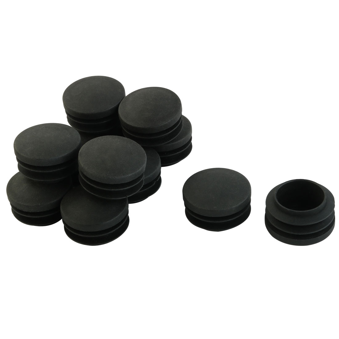 23mm x 35mm Black Plastic Blanking End Caps Round Tube Insert Bung 12 Pcs