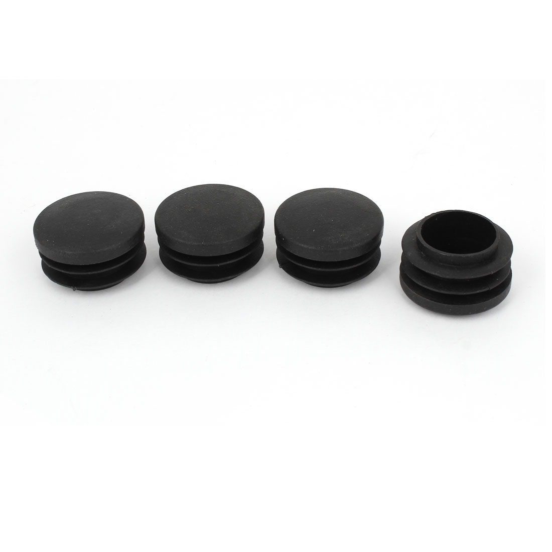 23mm x 35mm Black Plastic Blanking End Caps Round Tube Insert Plug Bung 4 Pcs