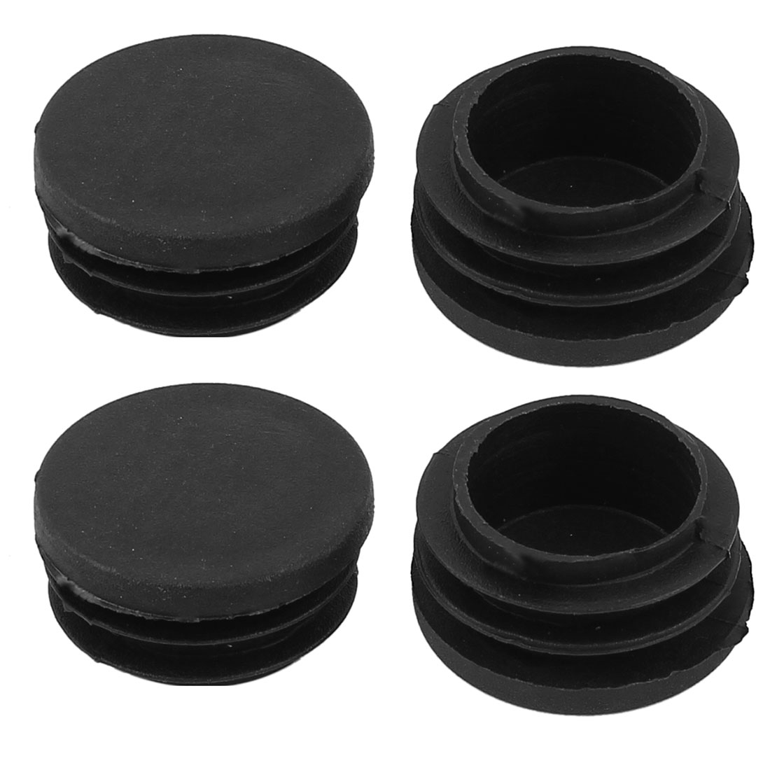 Chair Table 32mm Dia Round Shape Plastic Blanking End Cap Tubing Tube Insert 4 Pcs