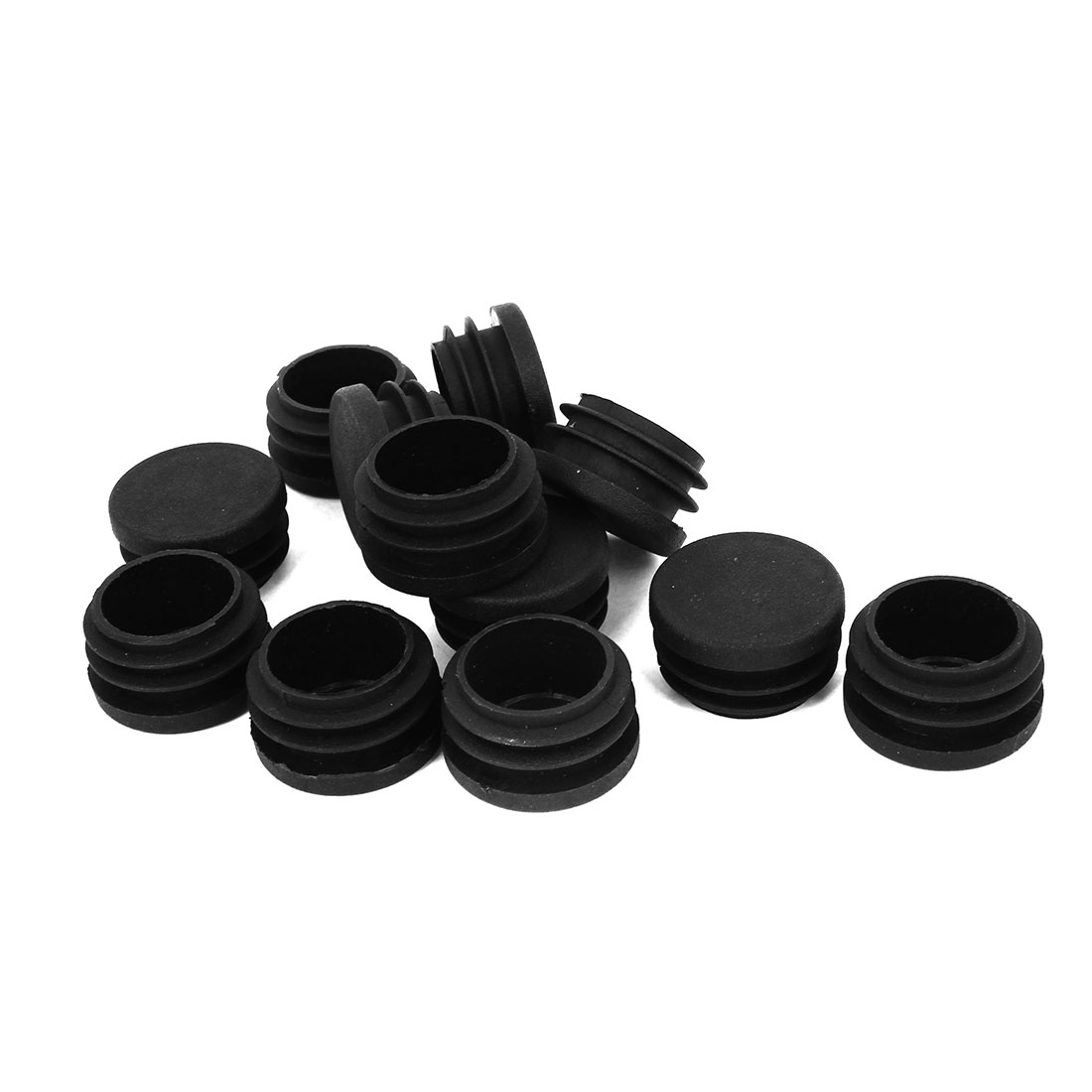 12 Pcs Black Plastic Inserts Blanking End Caps Covers 30mm for Round Tube Pipe