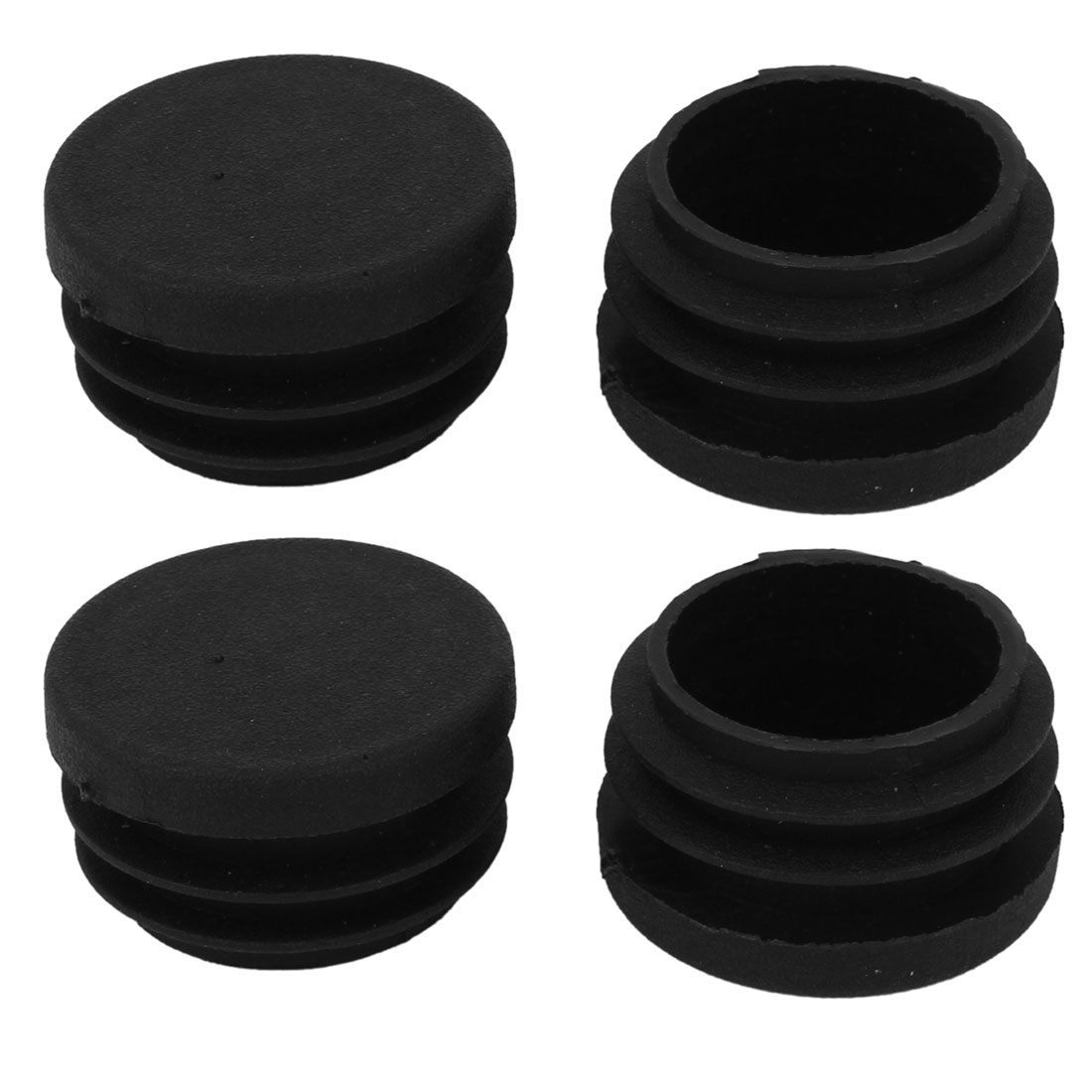 30mm x 21mm Black Plastic Blanking End Caps Round Tube Insert Cover Bung 4 Pcs