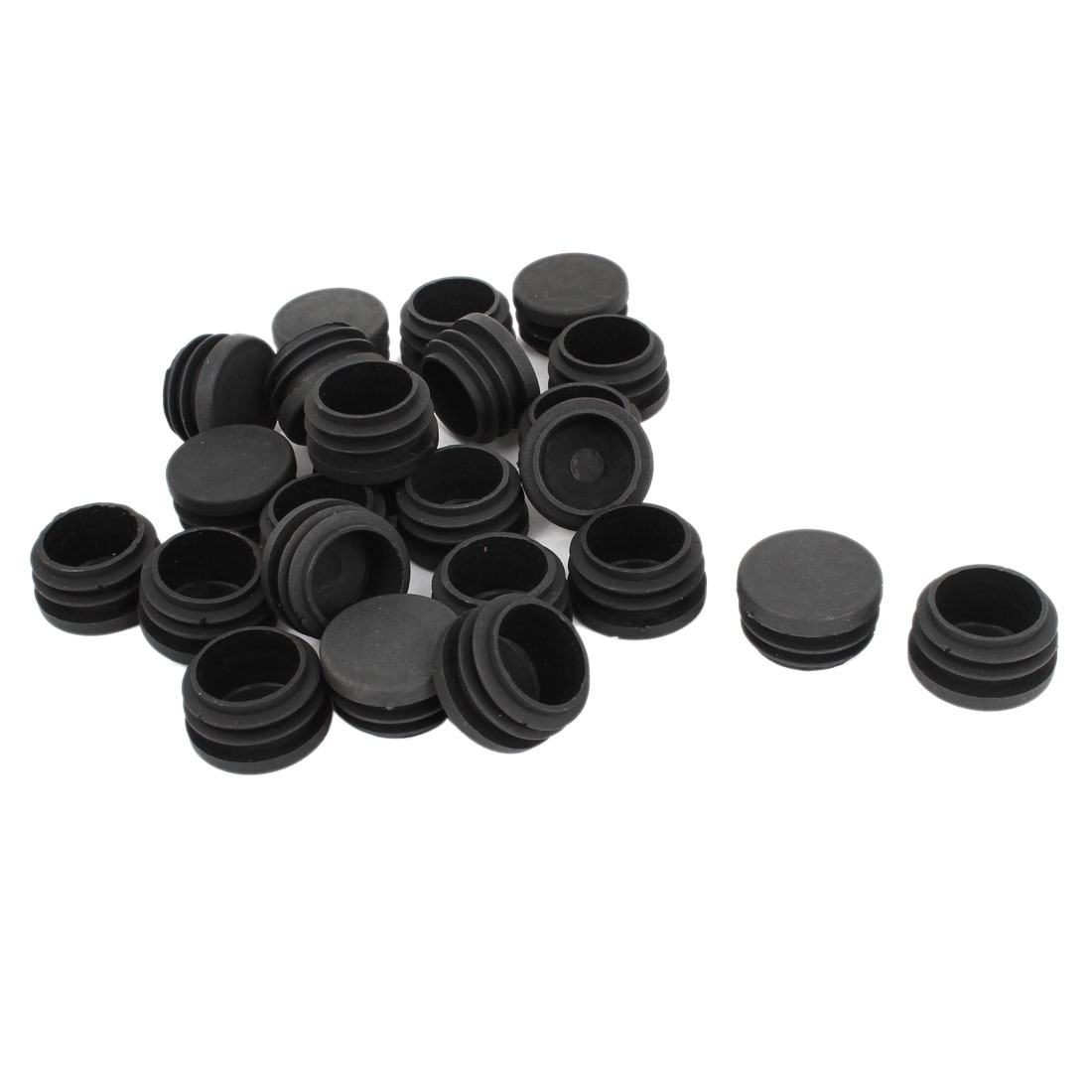 30mm x 21mm Black Plastic Blanking End Caps Round Tube Insert Plug Bung 24 Pcs
