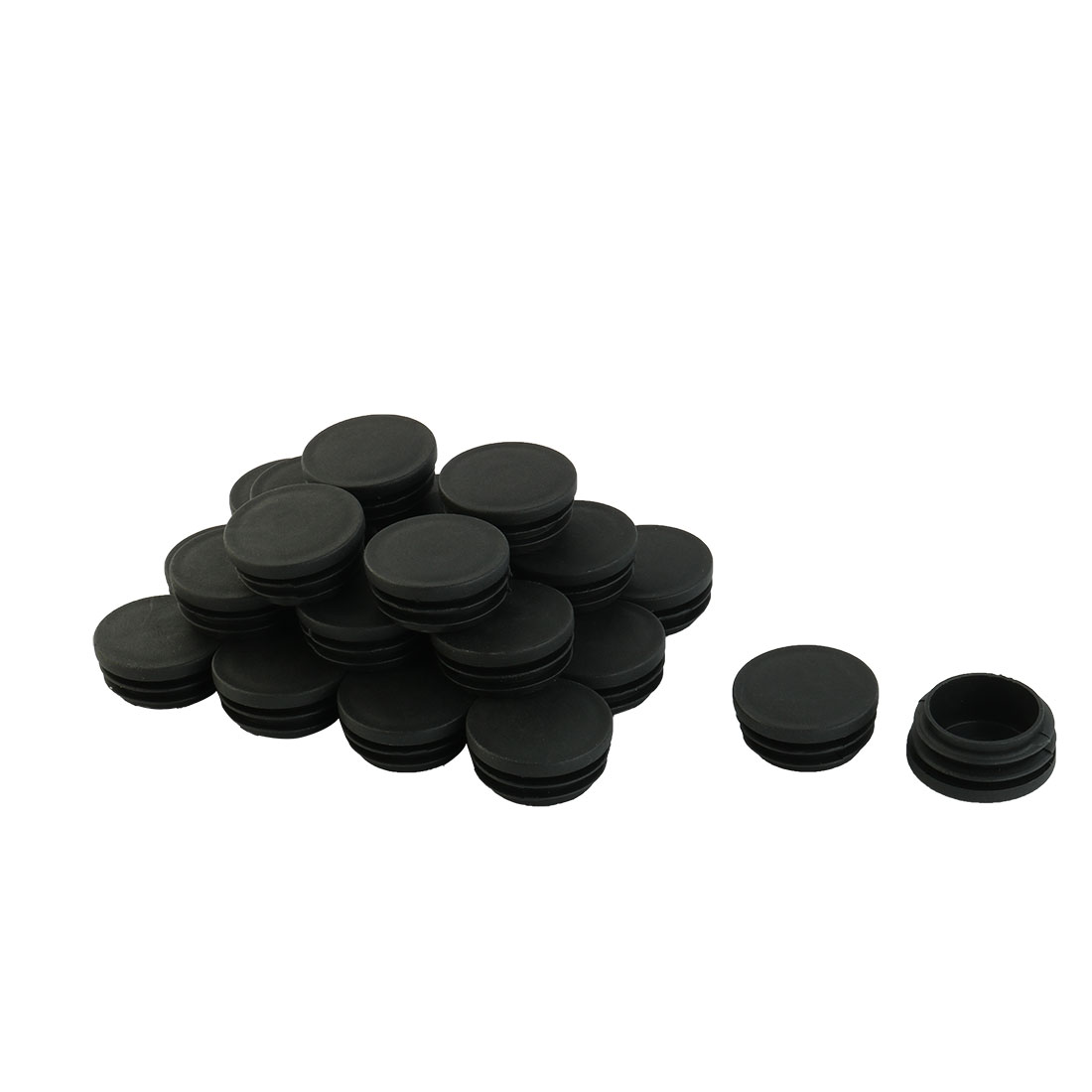 "Black Plastic Blanking End Caps 1 1/2"" Round Tube Insert Bung 24 Pcs"
