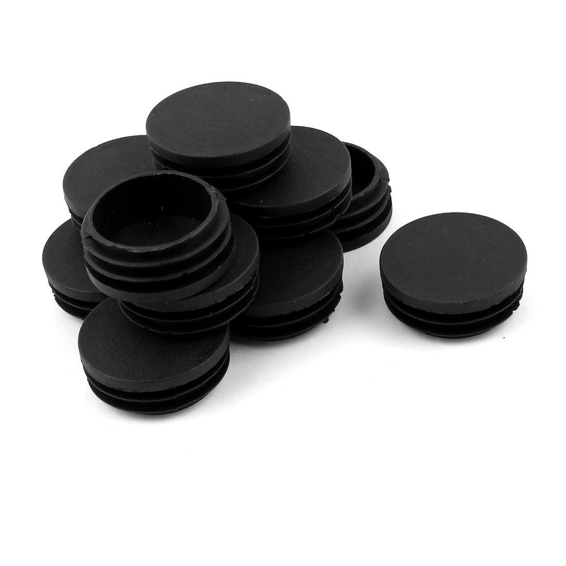 12 Pcs Black Plastic 45mm Dia Round Tubing Tube Insert Caps Covers