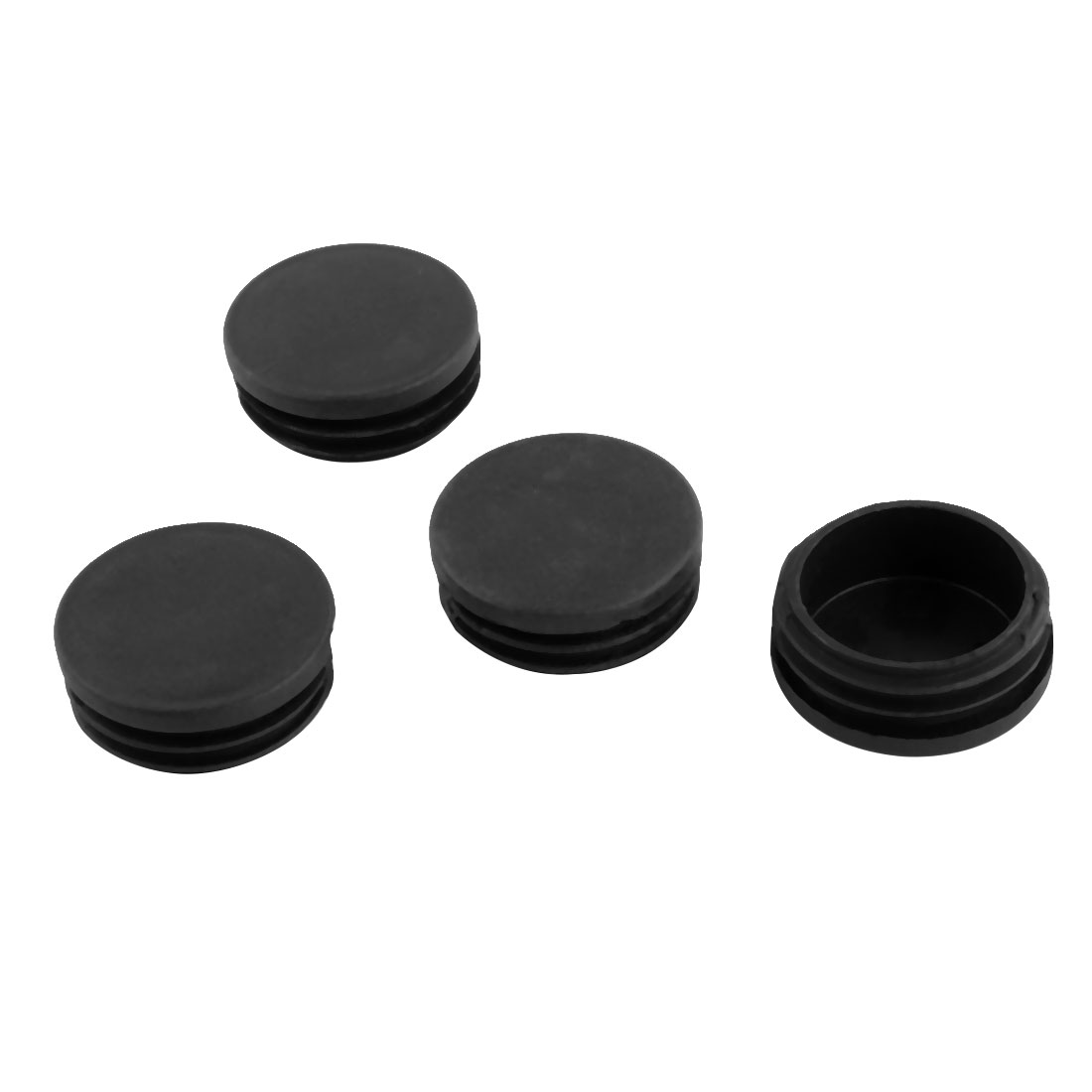 4 Pcs Black Plastic 45mm Dia Round Tubing Tube Inserts Bungs Covers