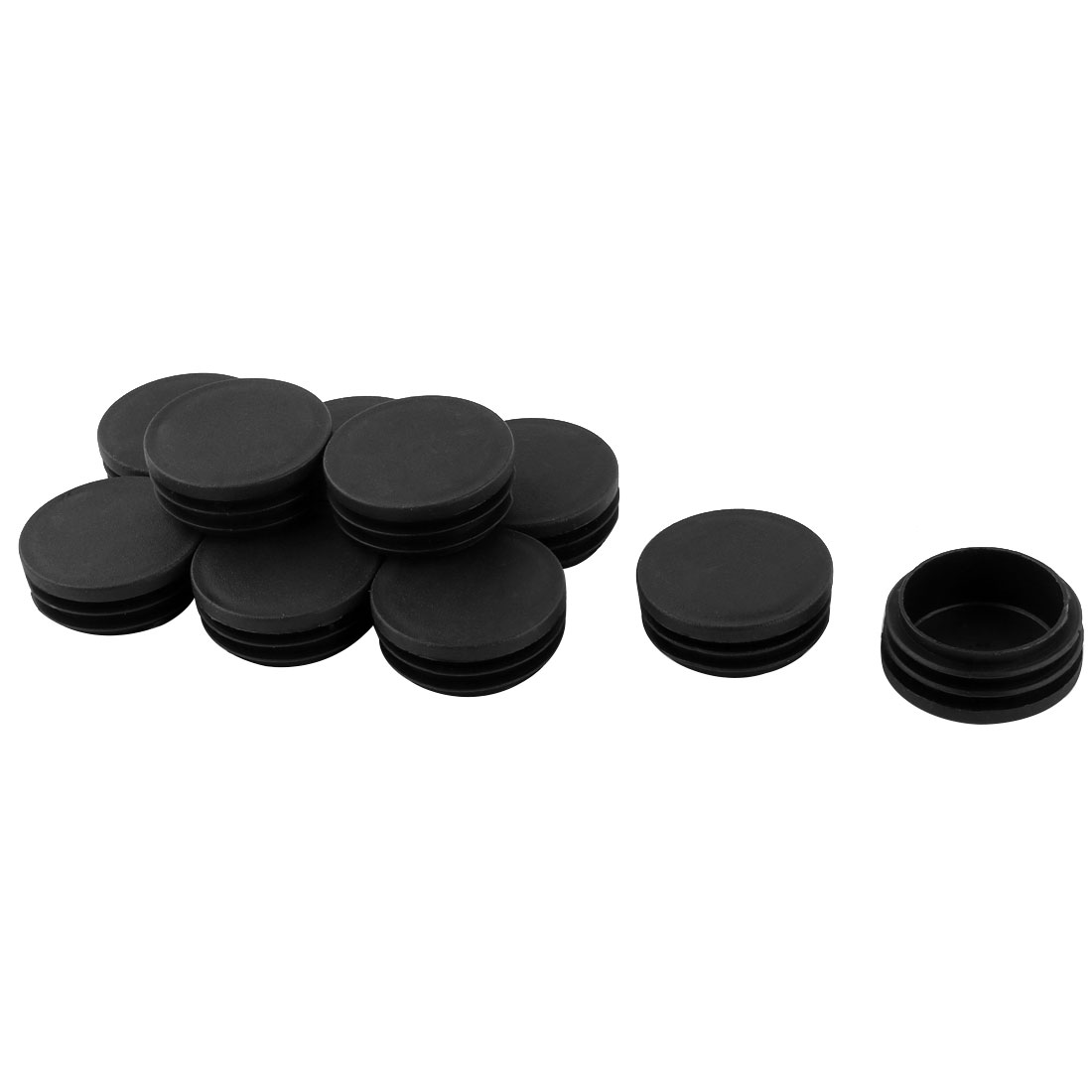 10 Pcs Black Plastic 43mm Dia Round Tubing Tube Insert Caps Covers