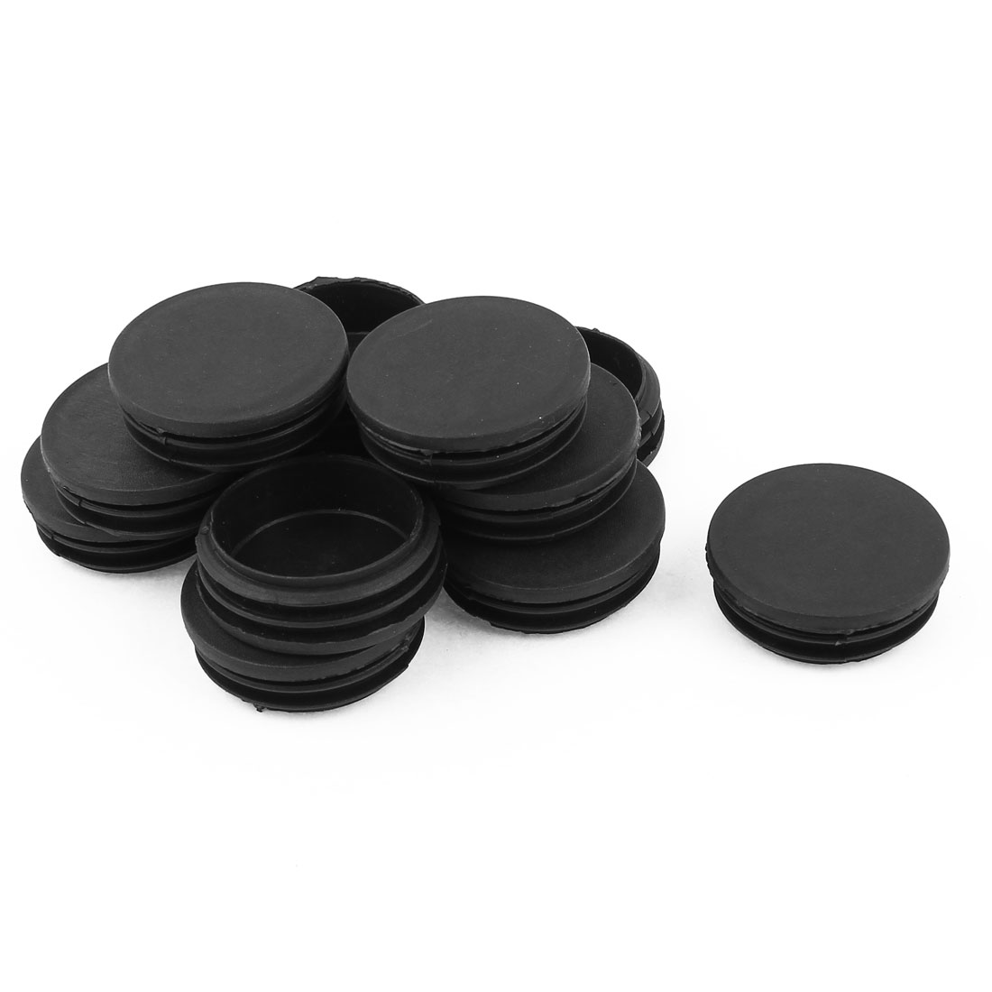 12 Pcs Black Plastic 47mm Dia Round Tubing Tube Insert Caps Covers