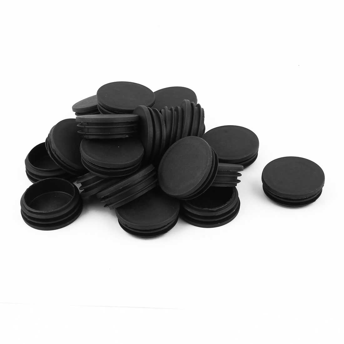 "24 Pcs Black Plastic 1 7/8"" Dia Round Tubing Tube Inserts Caps Covers"