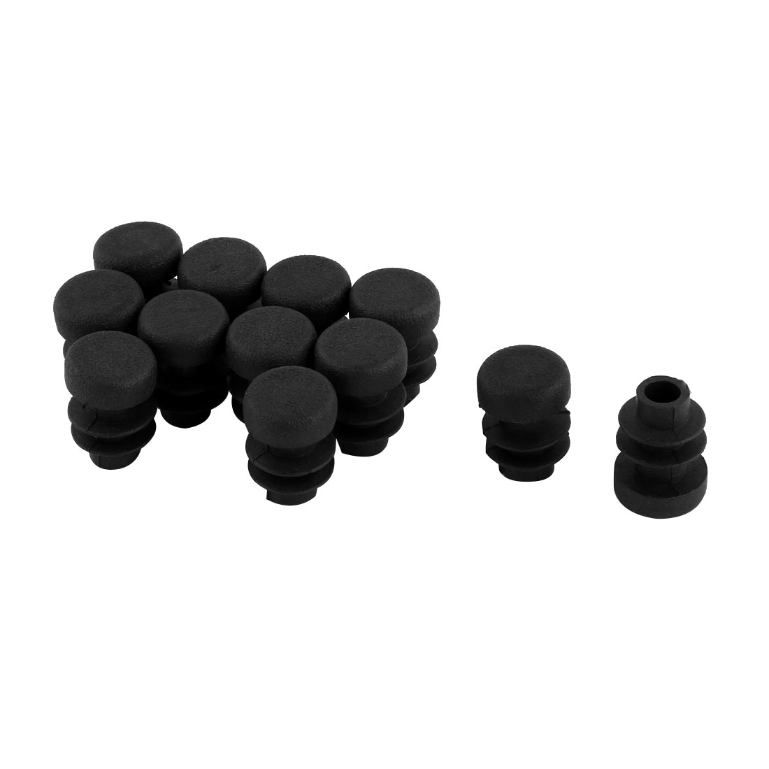 12 Pcs Black Plastic 12mm Pipe End Blanking Caps Bung Tube Tubing Insert Plugs Round